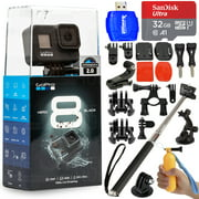 GoPro HERO8 4K Waterproof Action Camera Black CHDHX-801 - Action Bundle Includes: Sandisk 32GB MicroSD, Selfie Stick, Suction Cup for Car, Helmet Mount, 2 Buckles and More