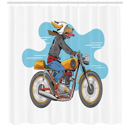 Motorcycle Shower Curtain Cartoon Style Funny Dog Riding Classic Bike With Jacket Hand Drawn Illustration