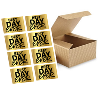 """CakeSupplyShop 12pk 3 x 3 x 4"""" Kraft Brown Gift Candy & Party Favor Boxes with Best Day Ever Stickers For Wedding Birthdays Graduations Baby Showers"""