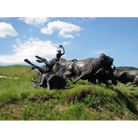 Laminated Poster Bison South Dakota Sculpture Tatonka Buffalo Poster Print 11 x 17