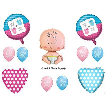 Little Man or Little Miss GENDER REVEAL BOY GIRL BABY SHOWER Balloons Decorations Supplies