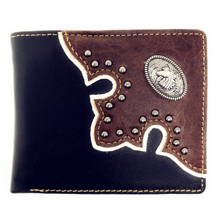Western Genuine Leather Metal Horse Concho Mens Bifold Short Wallet/Multi Color](Western Shot)