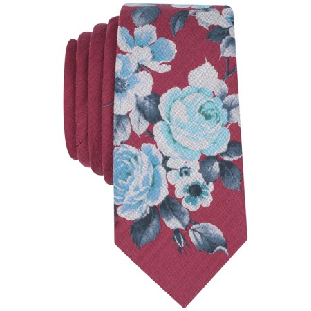 - BAR III Red Burgundy Para Floral Printed Slim Men's Casual Neck Tie