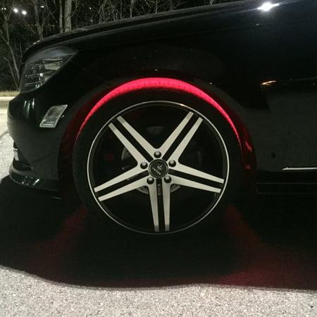 Red LED Wheel-Well Lighting Kit 4-Flexible LED Strips For Car & Truck Fenders