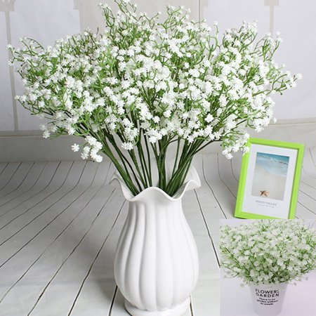 Outgeek 2Pcs Artificial Flower Decorative Elegant Babysbreath Bridal Bouquet Fake Plant Art Decorations for Home Living Room Bedroom Garden Office Wedding Decor - Elegant Touch Bridal