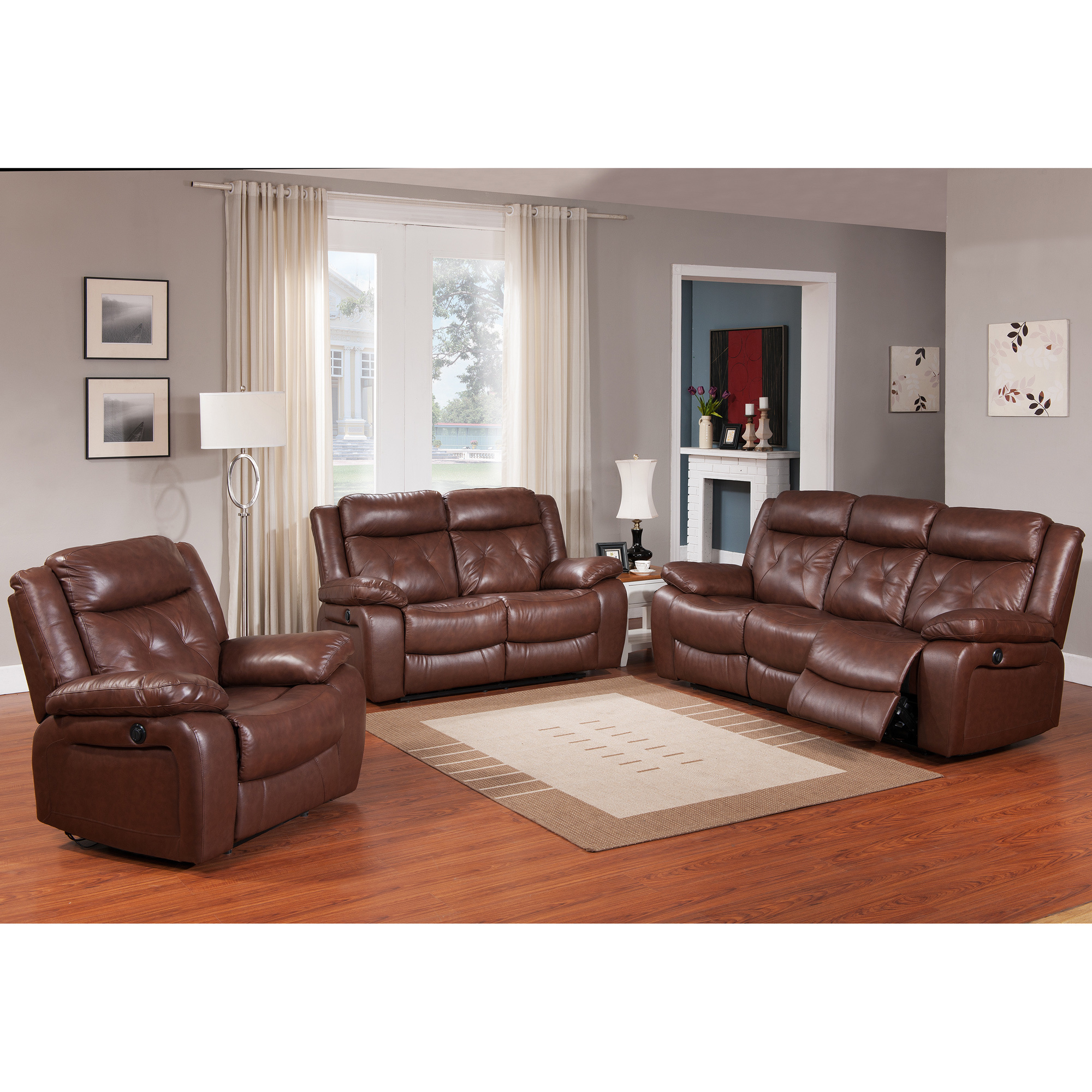 Beverly Furniture Rivallo Brown 3 Piece Top Grain Leather Power Reclining  Sofa Set