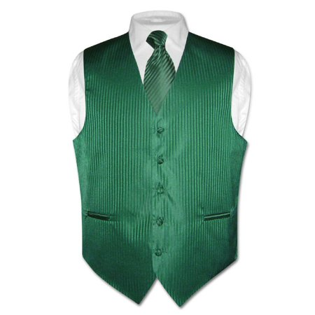 Men's Dress Vest NeckTie EMERALD GREEN Color Vertical Stripe Design Neck Tie Set