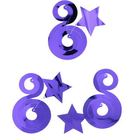 (4 Pack) Way to Celebrate! Purple Dizzy Danglers 3 pc Pack