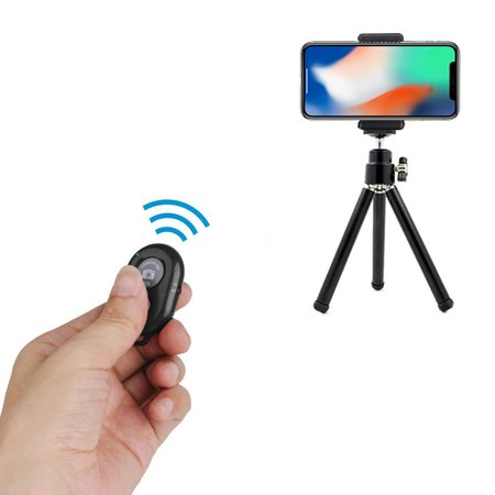 """eCostConnection 7"""" Extendable Mini Tripod + with Universal Smartphone Mount and Bluetooth Wireless Remote Control Camera Shutter for Smartphones & Microfiber Cloth - image 3 de 8"""
