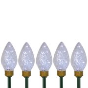 5ct Lighted C9 LED Christmas Pathway Marker with Lawn Stakes White Wire - Clear Lights