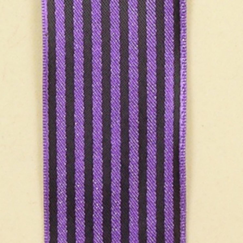 "Purple and Black Striped Satin Craft Ribbon 1.5"" x 108 Yards"