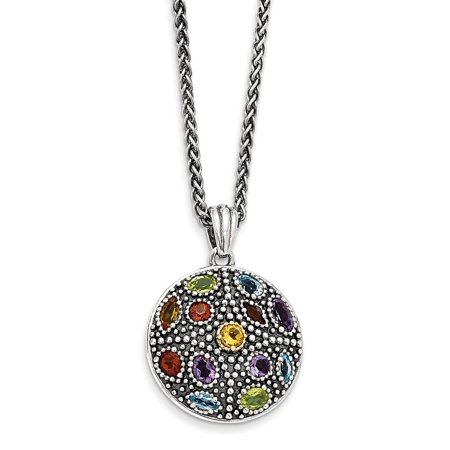 - 14K Gold and 925 Sterling Silver with Antiqued Multi Gemstone Necklace -18