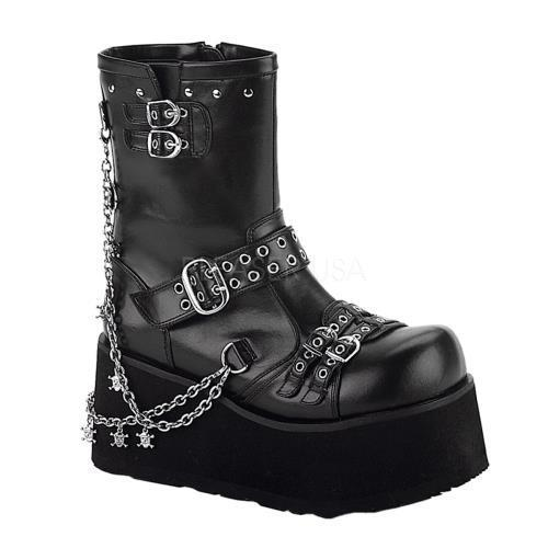 CLA430 B PU Demonia Vegan Boots Womens BLACK Size: 8 by