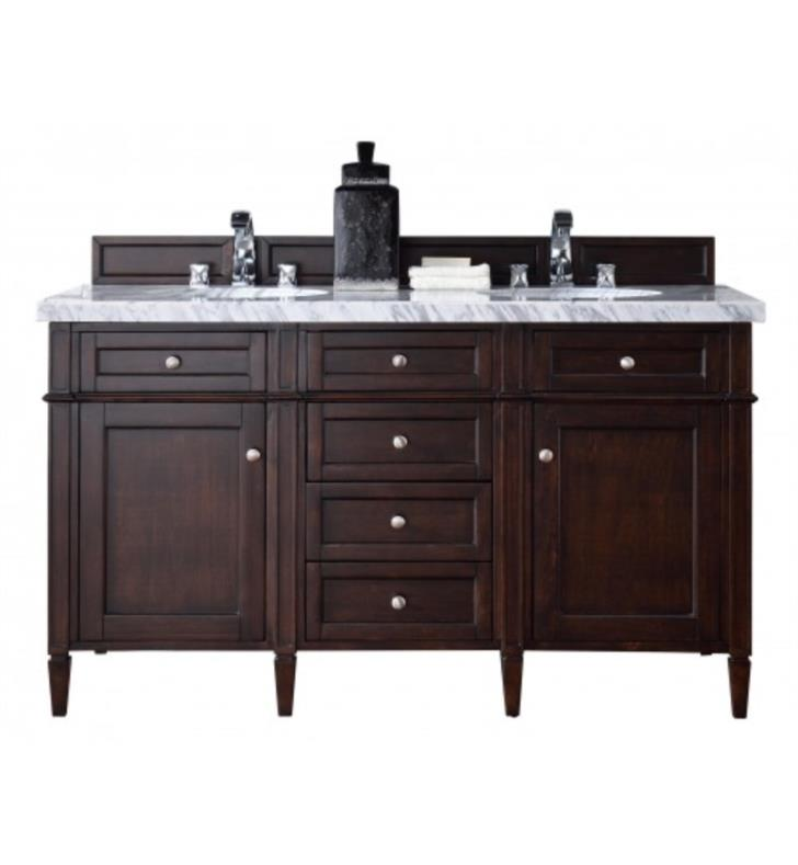 "James Martin 650-V60D-BNM-3AF Brittany 60"" Double Bathroom Vanity in Burnished Mahogany Finish With Countertop & Sink Combo: 3 CM Arctic Fall Solid Surface Top with Rectangular Undermount Sink/s"