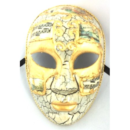 White Gold Full Face Lady Venetian Mask Masquerade Mardi Gras - White Full Face Mask
