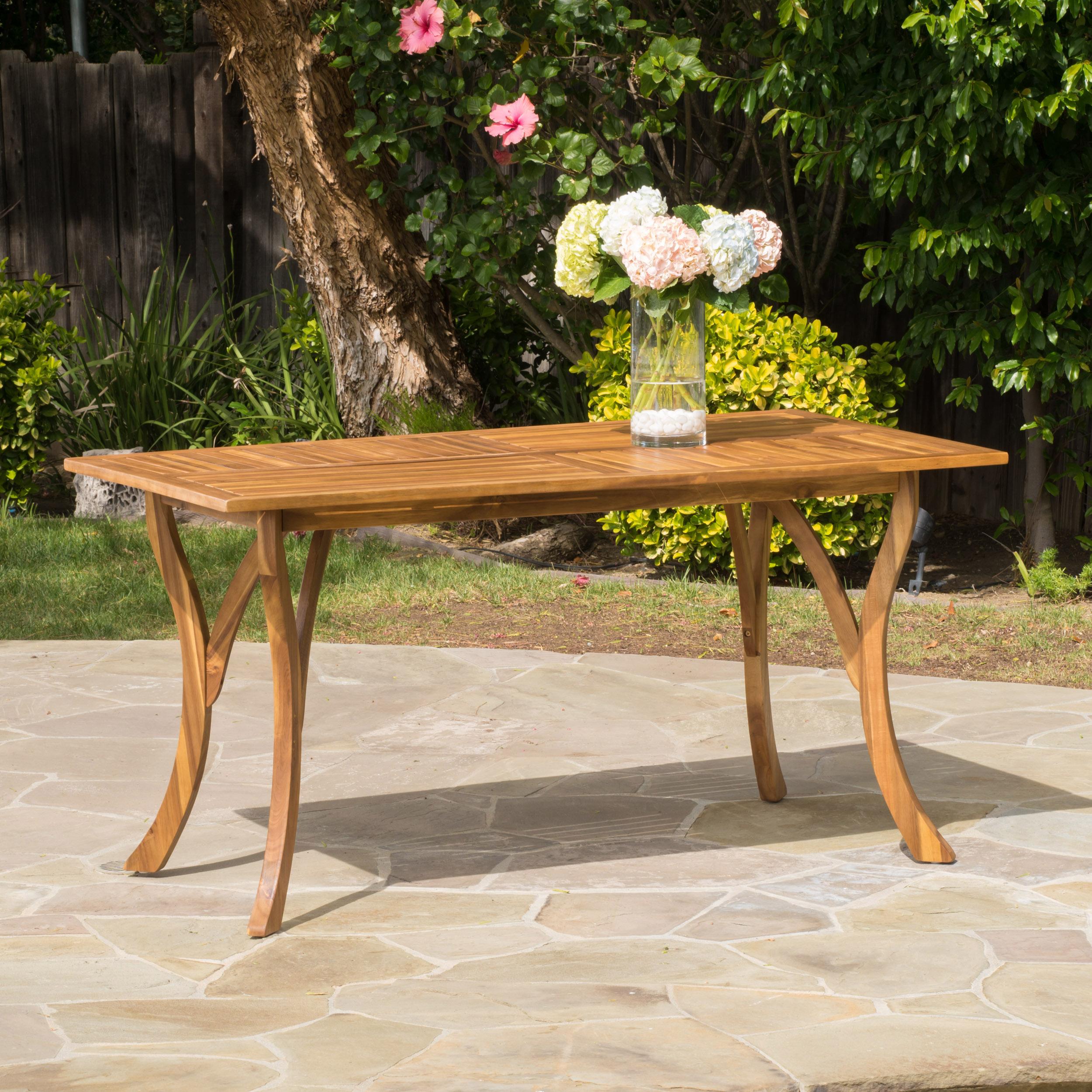 Kamala Outdoor Acacia Wood Rectangular Dining Table, Teak Finish