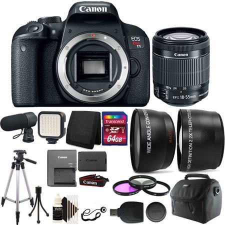 Canon EOS Rebel T7i 24.2MP Digital SLR Wifi Enabled Camera Black with EF-S 18-55 IS STM + 64GB Accessory Kit