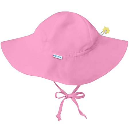 Iplay Brim Sun Hat for Baby Girls Sun Protection Wide Brimmed Hat- Solid Light Pink-Infant 9-18 Months Baby Girl Hat Is Adjustable To Fit Outdoor Hat With Chin Strap; Pool Beach Floppy Fisherman Swim