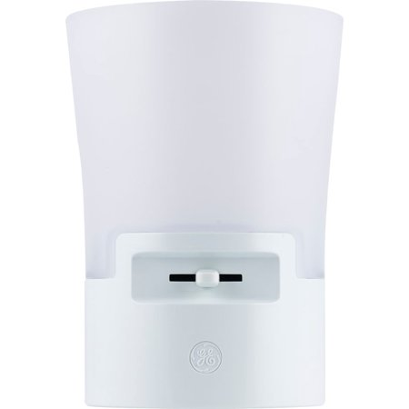 GE UltraBrite Automatic LED Dimmable Sconce Night Light, Plug-In, Up to 100 Lumens, White, 36265
