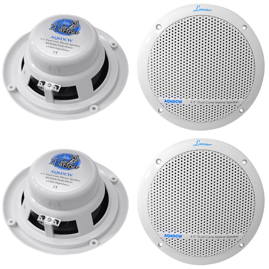 "4) NEW LANZAR AQ6DCW 6.5"" 720W Dual Cone Marine/Boat Speakers Waterproof White"