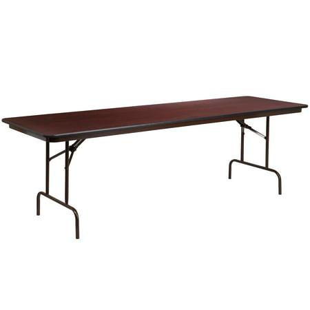 High Pressure Laminated Folding Table - Flash Furniture 30'' x 96'' Rectangular High Pressure Mahogany Laminate Folding Banquet Table