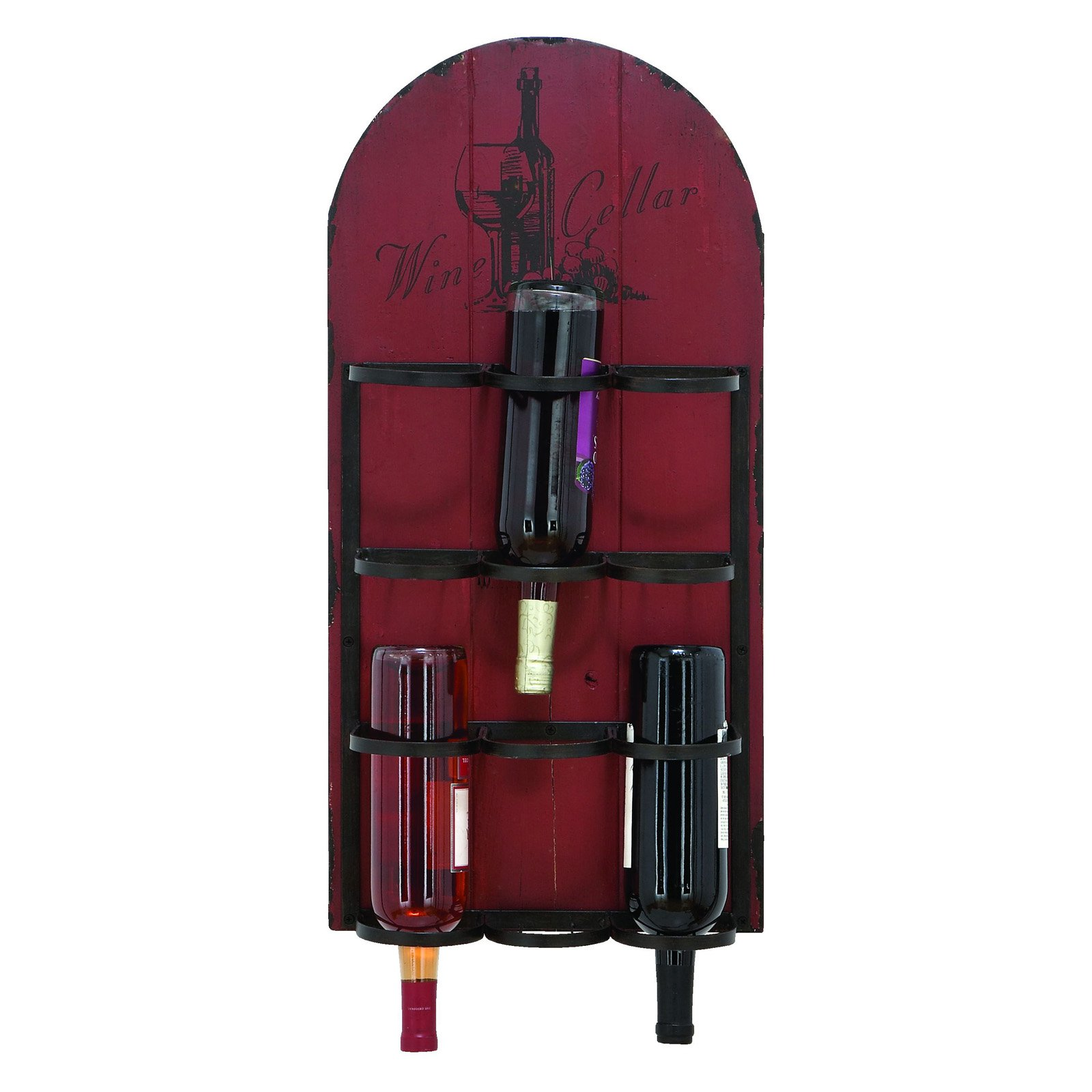 Woodland Imports Antique Red Wood Wine Cellar 6 Bottle Wall Wine Rack