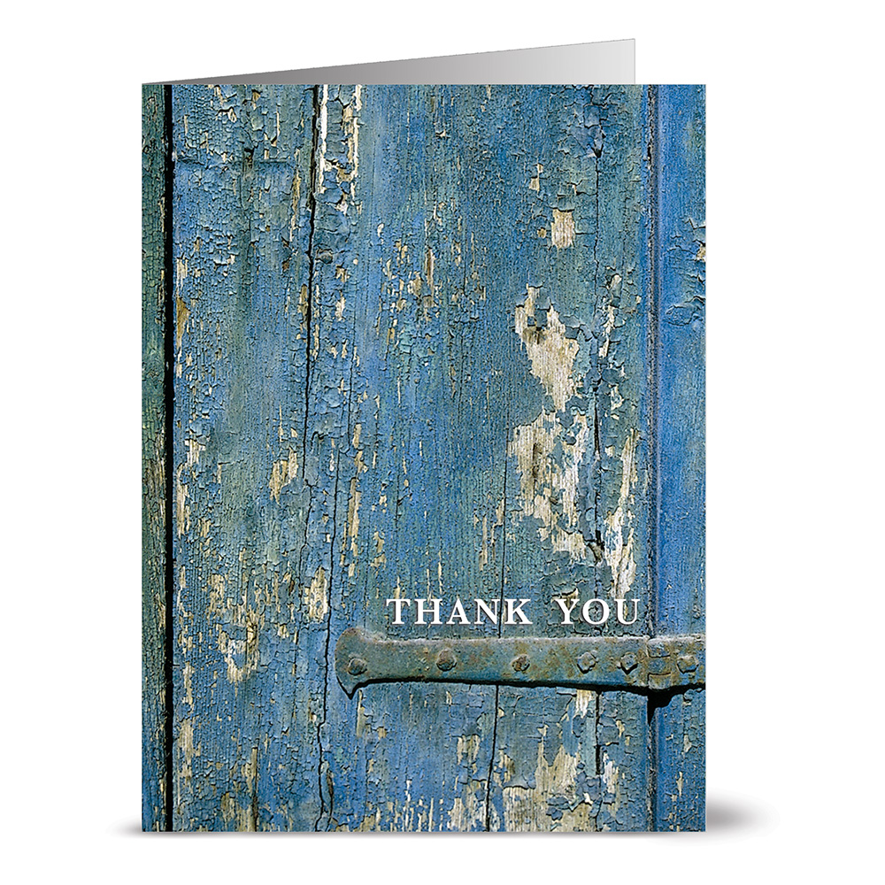 24 Thank You Note Cards - True Blue Gratitude - Blank Cards - Off White Ivory Envelopes Included