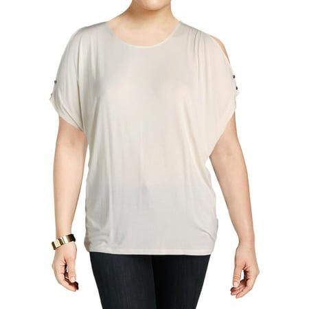 Lauren Ralph Lauren Womens Plus Lutreu Knit Cold Shoulder Casual Top