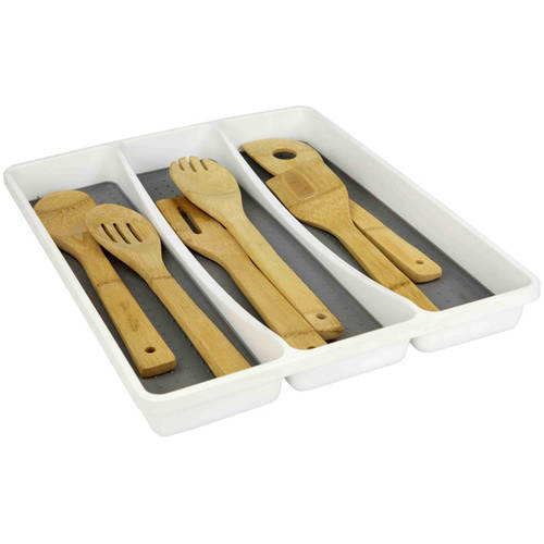Home Basics Large Utensil Tray with Rubber Liner