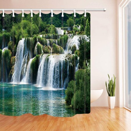 WOPOP 3D Digital Printing Waterfall Decor Waterfall in Tropic Rainforest Polyester Fabric Bath Curtain, Bathroom Shower Curtain 66x72 inches