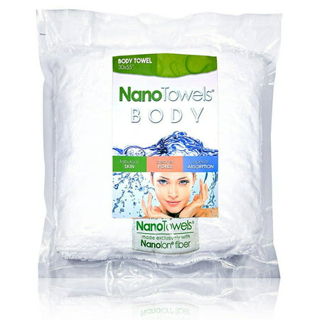 Nano Towels Body Bath & Shower Towel. 30 x 55 White - Huge & super absorbent. Wipes away dirt, oil and cosmetics. Use as your sports, travel, fitness, kids, beauty, spa or salon luxury towel.