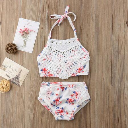 Fashion Cute 2Pcs Toddler Baby Girl Lace Swimwear Bathing Suit Bikini Outfits Swimsuit Set