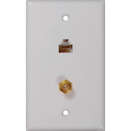 RCA CAT 5/6 F and Coaxial Connector Wall Plate (Dual F Connector Wall Plate)