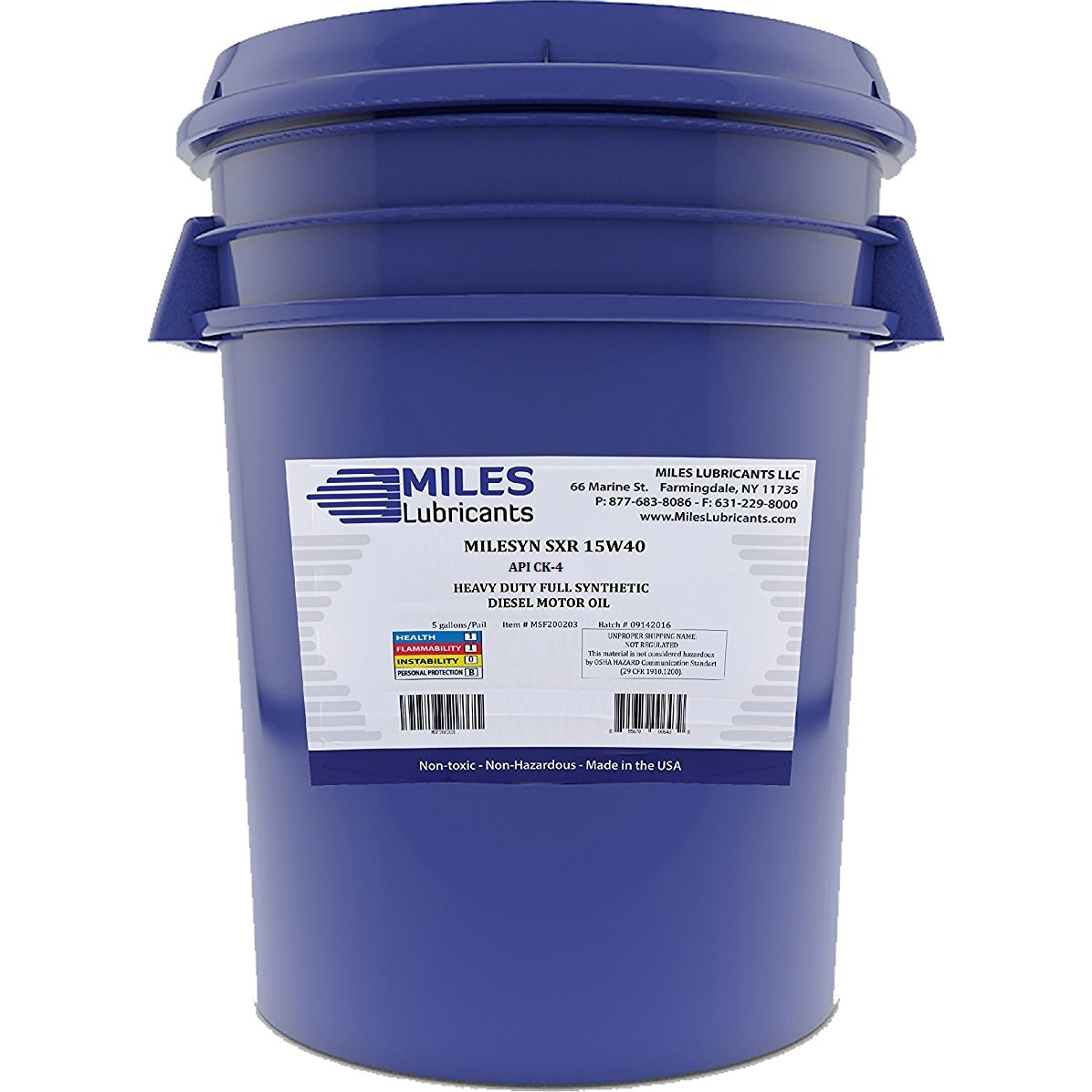Milesyn SXR 15W40 API CJ-4, Full Synthetic Diesel Motor Oil, 5-Gallon Pail
