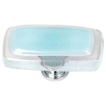 Long Knob in Light Aqua (Polished Chrome) ()