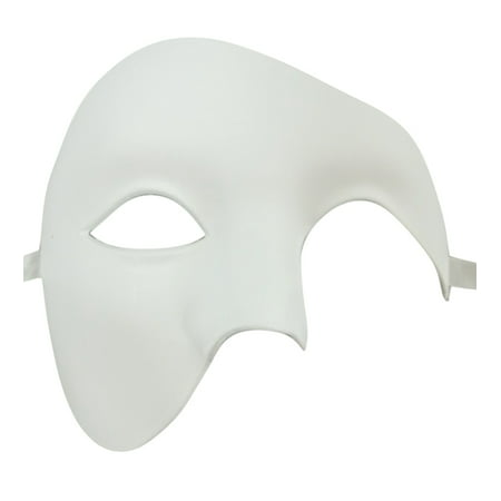 White Phantom of the Opera Half Face Men Masquerade Mask Costume Craft Party - Masquerade Mens Costume