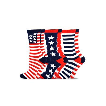TeeHee Novelty Fashion Americana Crew Socks 3 Pair Pack