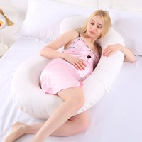 Full Body C Shaped Pillow Pregnancy, Maternity Pillow for Side Sleeping, Cotton Pillow Comfortable Sleeping Support, Nursing Cushion for Baby, Zipper Pillow Cover
