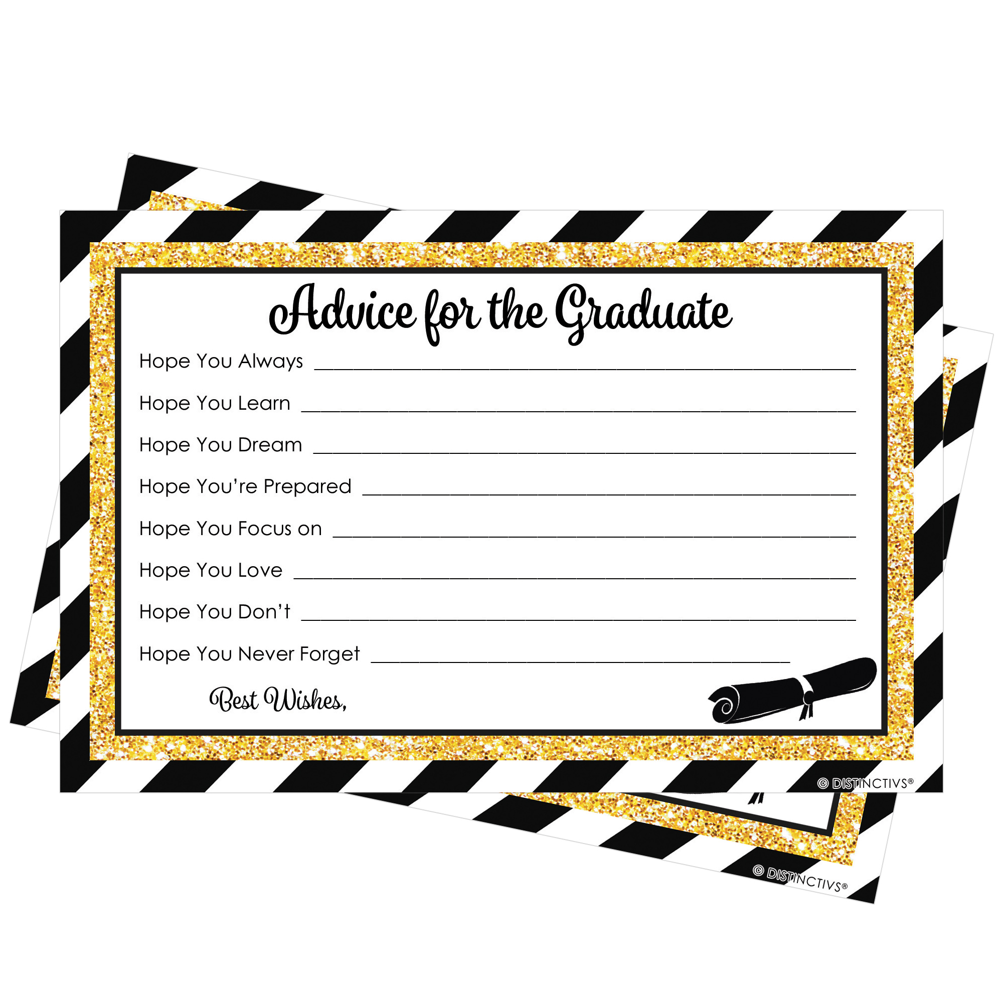 25 Graduation Party Advice Cards, Black and Gold