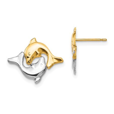 14k Yellow Gold Dolphin Post Stud Earrings Animal Sea Life Gifts For Women For Her