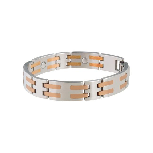 Stainless & Copper Bar Magnetic Bracelet - 2XL - image 1 of 1