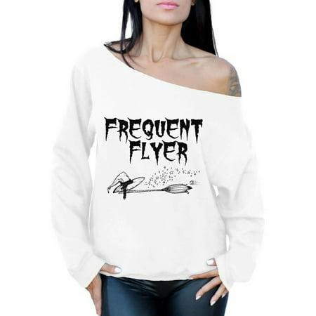 Awkward Styles Frequent Flyer Off Shoulder Sweatshirt Halloween Witch Oversized Sweater for Women Halloween Baggy Sweatshirt Dia de los Muertos Off The Shoulder Sweatshirt Day of the Dead Sweater for $<!---->