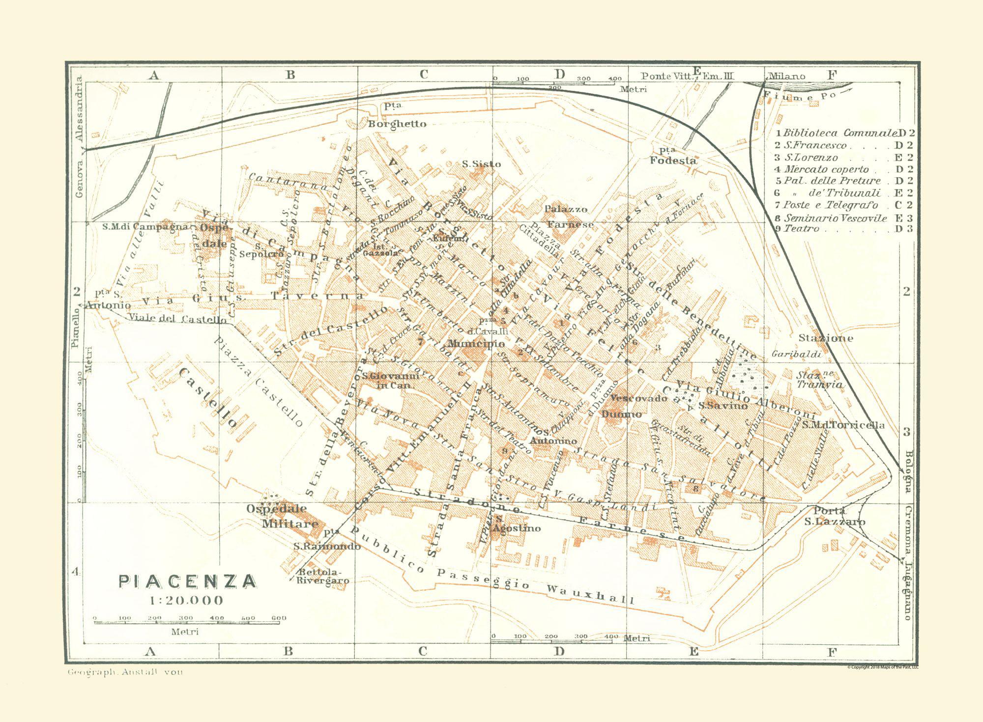 International Map Piacenza Italy Bertarelli 1914 31 30 X 23