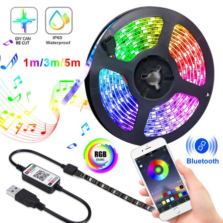 Flexible LED Strip Lights Waterproof, 1/2/3M Bluetooth 5050LEDs Chasing Light with APP, Dream Color Changing RGB Rope Lights Kit, 5V Waterproof Led Strip Lighting for Bedroom Kitchen Home (App To Change Color Of Kitchen Cabinets)