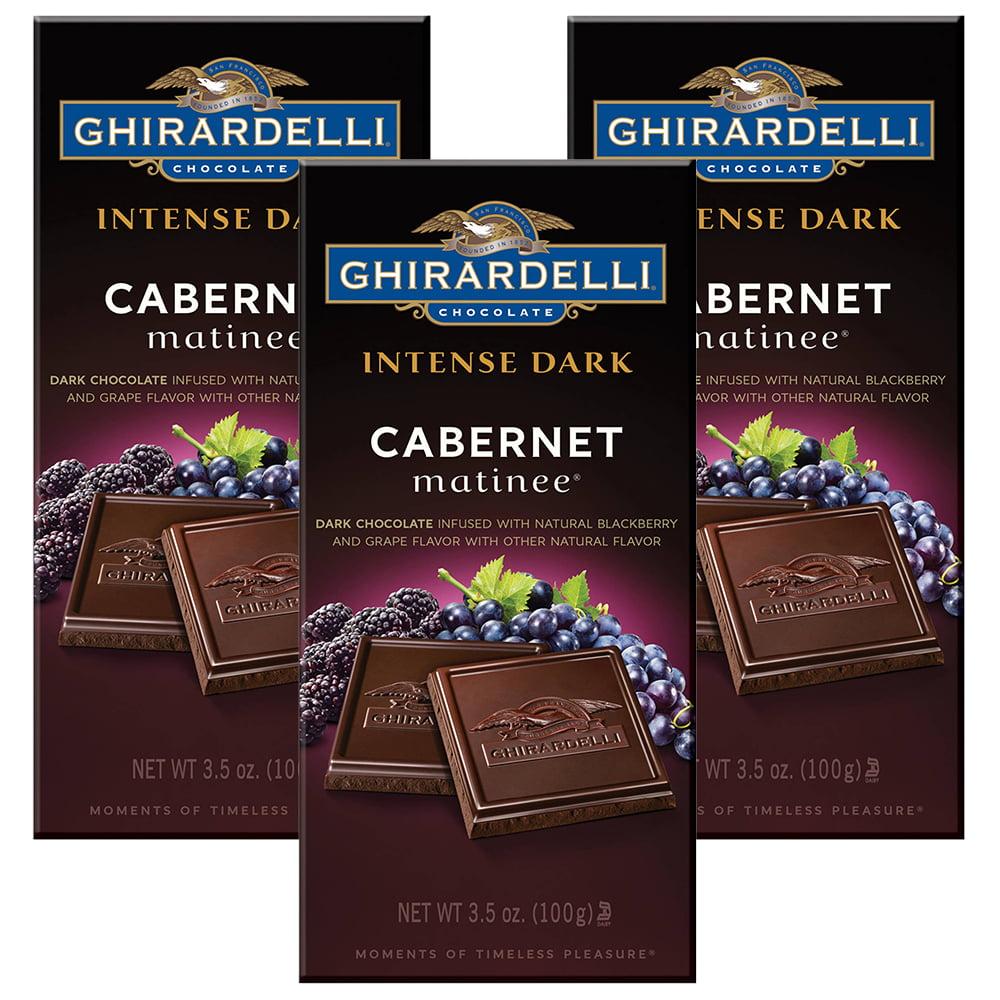 (3 Pack) Ghirardelli Intense Dark Cabernet Matinee Dark Chocolate, 3.5 oz