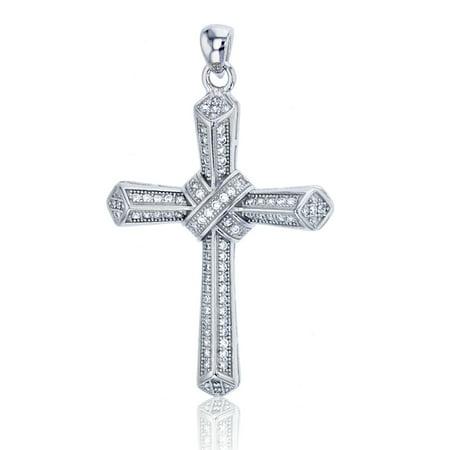 Sterling Silver Rhodium 41x25mm Micropave Cross Knot Dangling Pendant Dangling Shell Cross