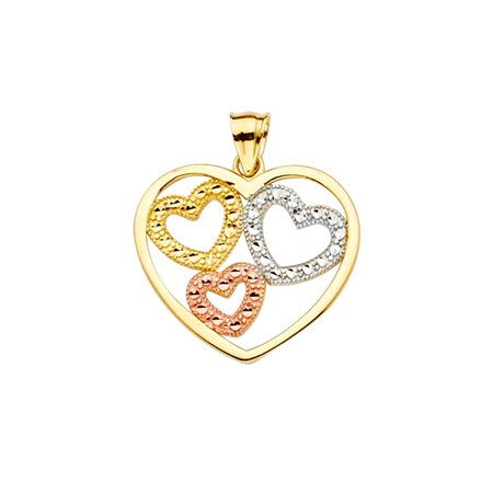 14k Heart Gemstone Pendant - FB Jewels 14K White Yellow And Rose Tri Color Gold Heart Pendant 21mm X 19mm