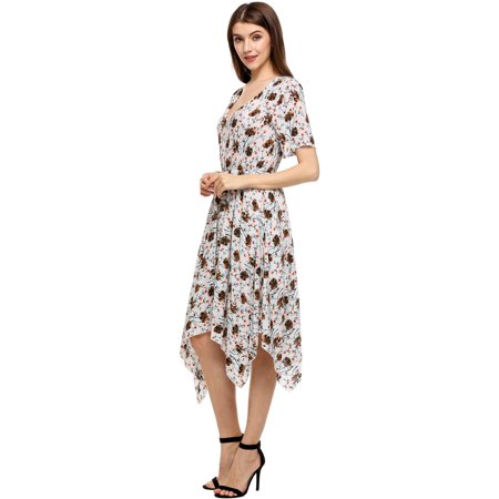 1fad113fa5b4 Women Tunic Dress Casual Short Sleeve Floral Print V Neck Asymmetrical  Tunic Dress Caroj - image ...