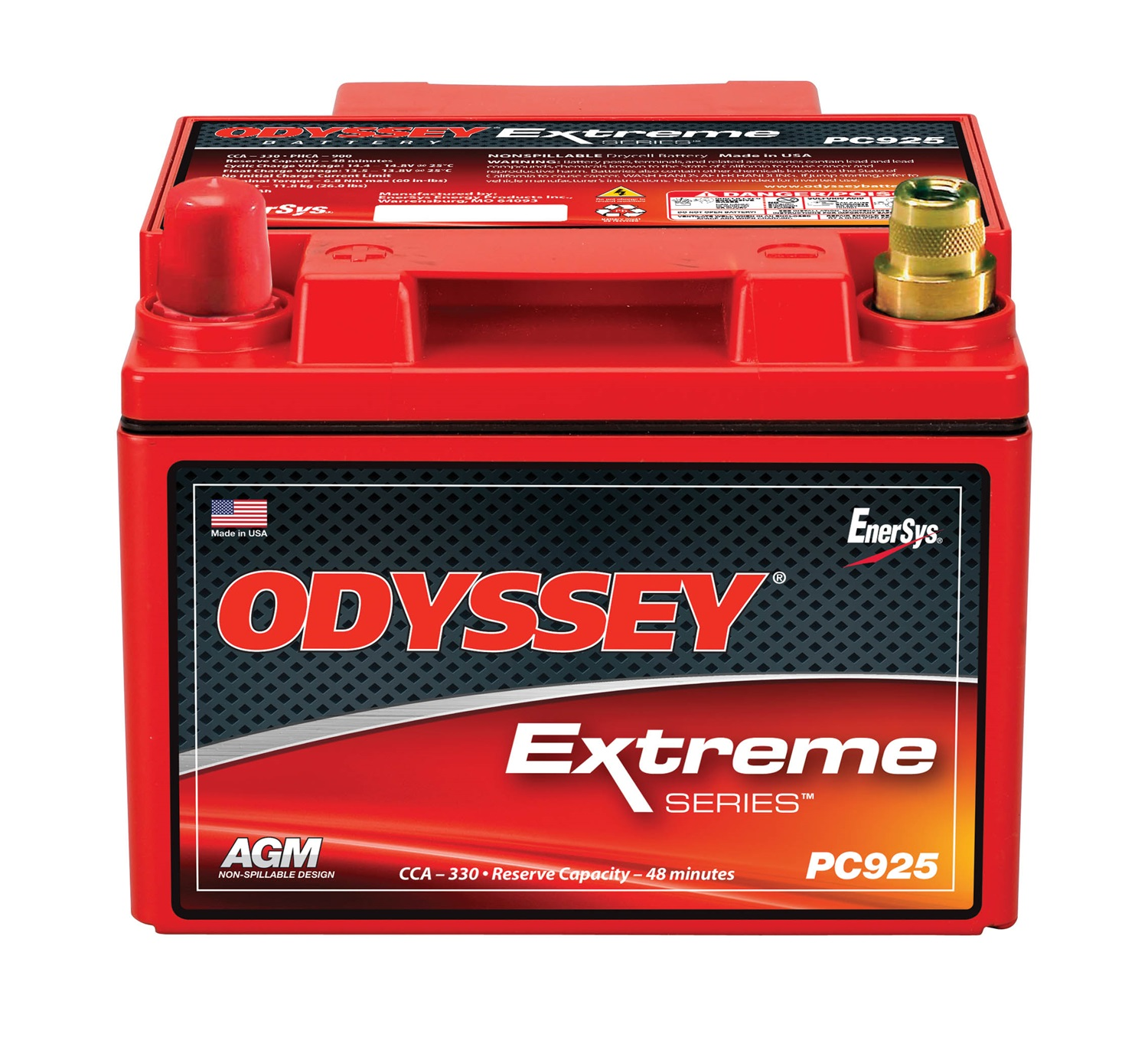 Odyssey Battery PC925LMJT Automotive Battery; 925 PHCA; 380 CCA; 500 MCA; RC Min. 52; L-6.64 in.; W-7.05 in.; H-5.04 in.; Left Positive SAE Brass Posts w/3/8 in. Threaded Receptacle ; w/Metal Jacket;