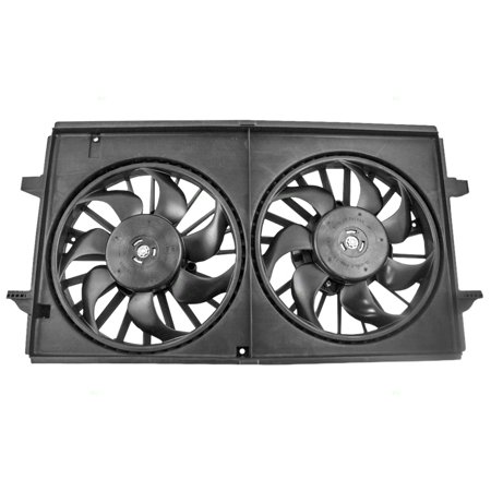 (Dual Cooling Fan Motor Shroud Assembly Replacement for Chevrolet Pontiac Saturn 6 cyl 22719384)